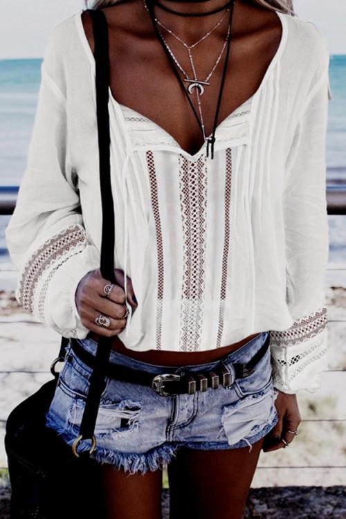 Sashes V-neck Lace Blouse