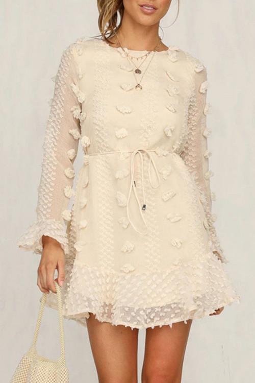 Scoop Applique Ruffles Dress