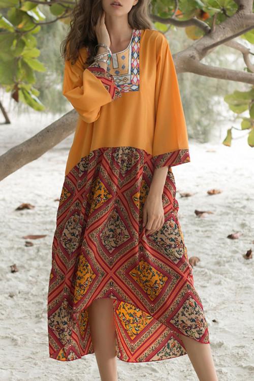 Scoop Print Maxi Dress