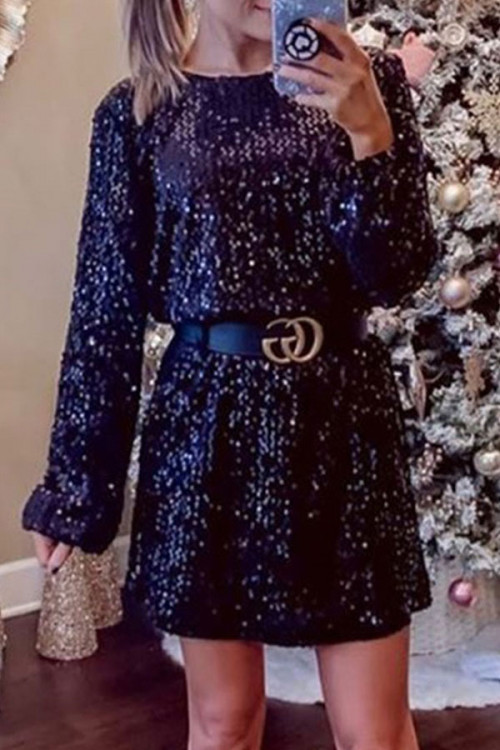 Scoop Sequins Tunic Dress