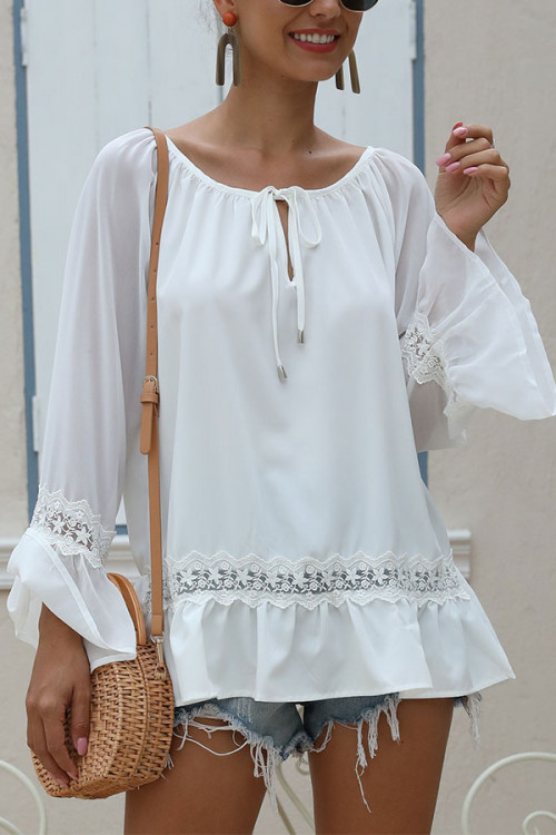 Scoop White Flounce Blouse