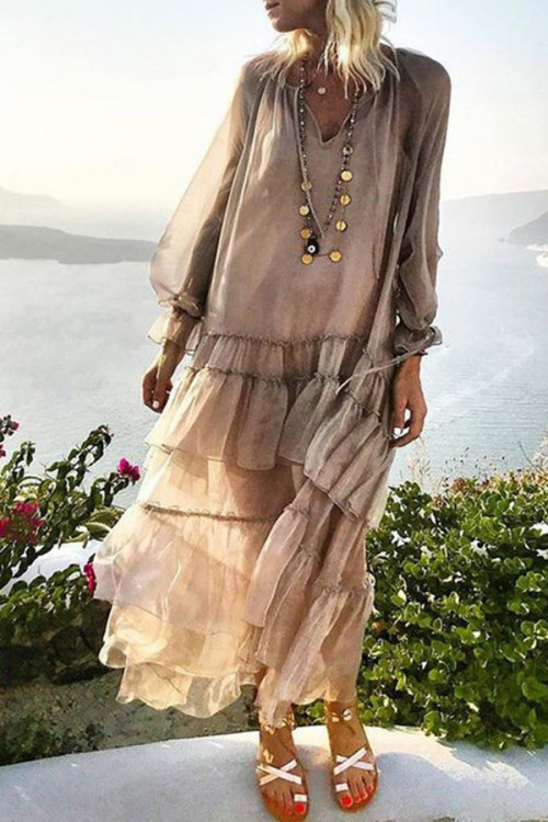 See-through Ruffled Bohemian Dress