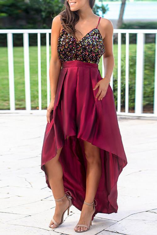 Sequin Panel High Low Satin Dress