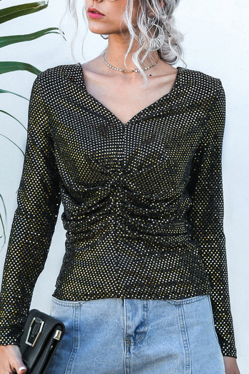 Sequins V-Neck Blouse