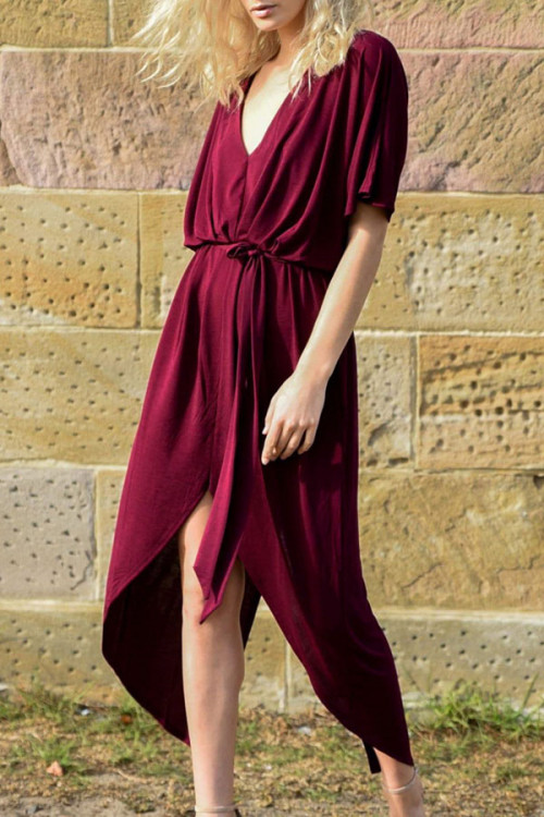 Sexy Asymmetric Slit Dress