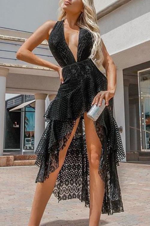Sexy Deep V Backless Dress