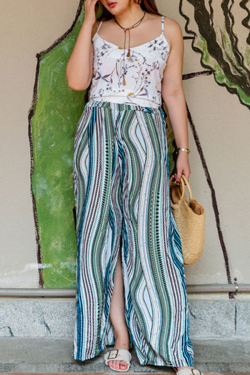 Side Slit Print Pants