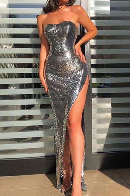 Silver Sequin Bandeau Dress