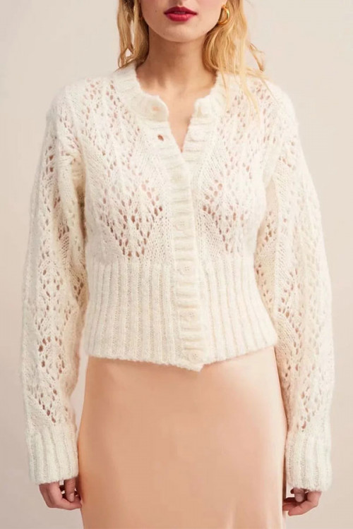 Single   Breasted   Hollow   Cardigan