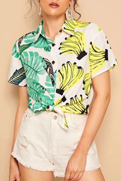 Sinle Breasted Print Shirt