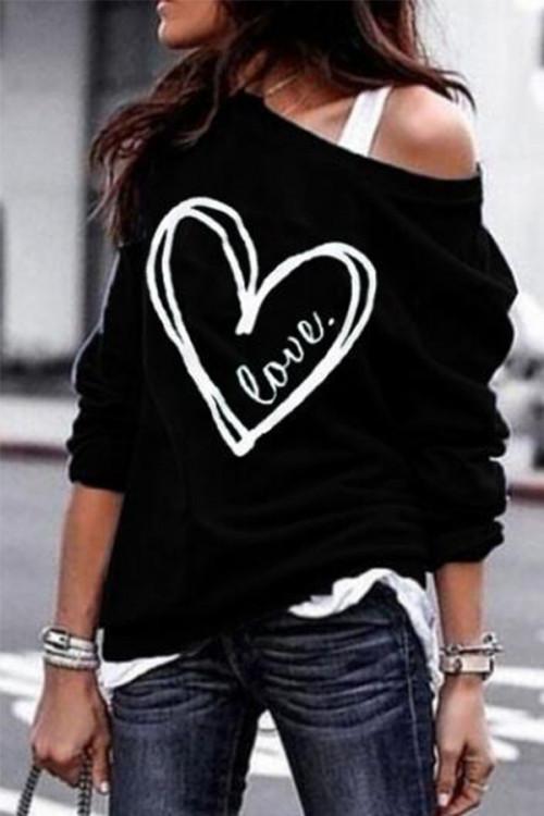 Slant Shoulder Casual Sweatshirt