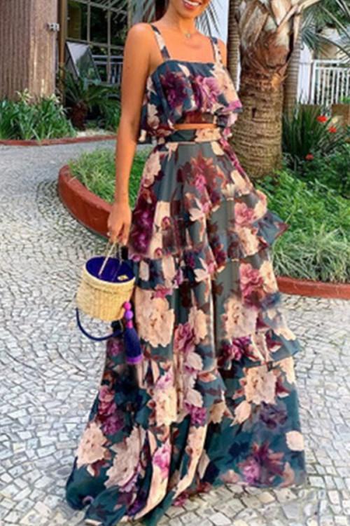 Sleeveless Ruffled Skirt Set