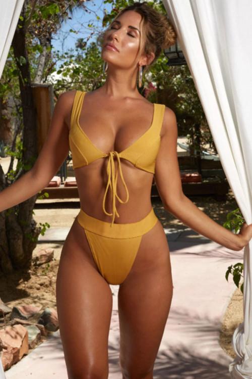 Solid High Waist String Bikini