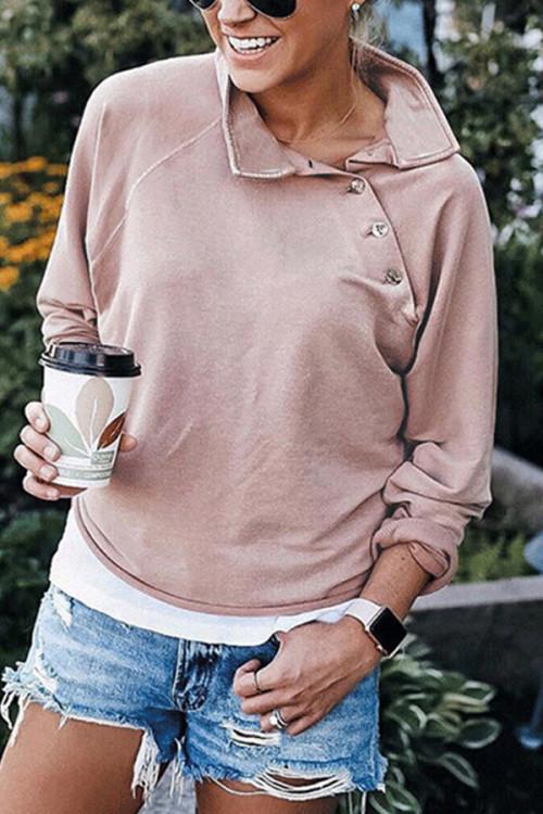 Solid Buttoned Turtleneck Sweatshirt