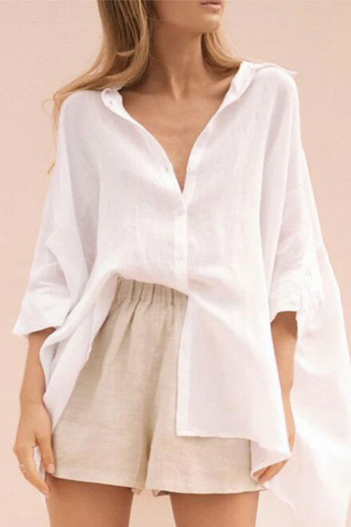 Solid  Casual Button-down   Shirt