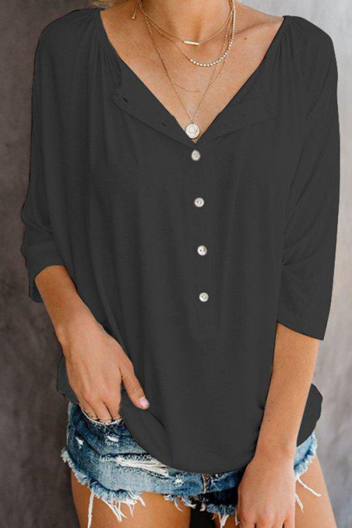 Solid Color Buttoned Casual Blouse