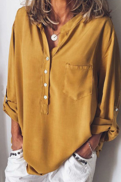 Solid Color Buttoned Pocket Shirt
