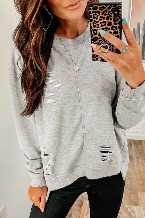 Solid Cut Out Sweatshirt
