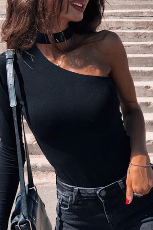 Solid Halter Fitting Bodysuit