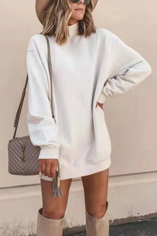 Solid High Neck Sweatshirt