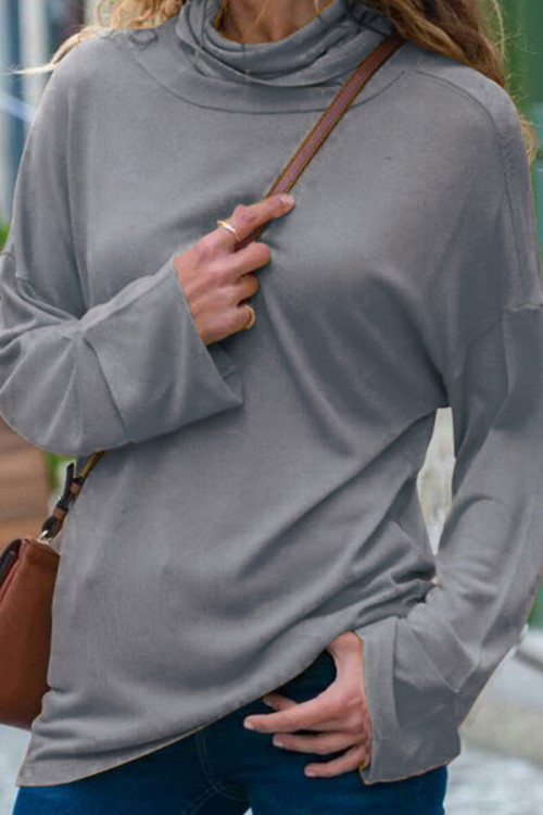 Solid High Neck T-shirt