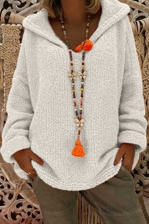 Solid Knit Hooded Sweater