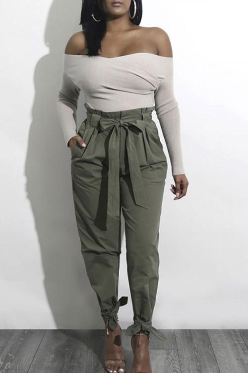 Solid Lace-up Empire Slacks Pants