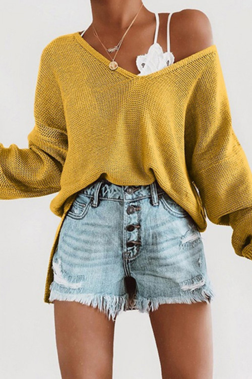 Solid Loose V-neck Sweater