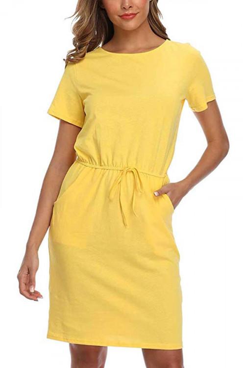Solid Pocket Midi Dress