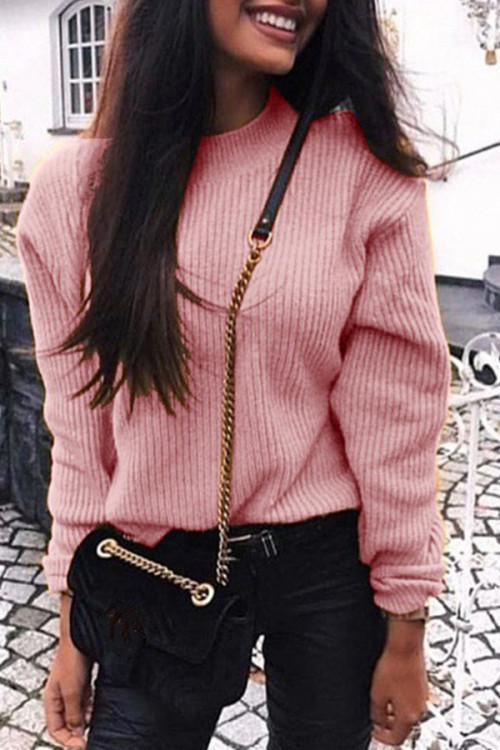 Solid Scoop Knit Sweater
