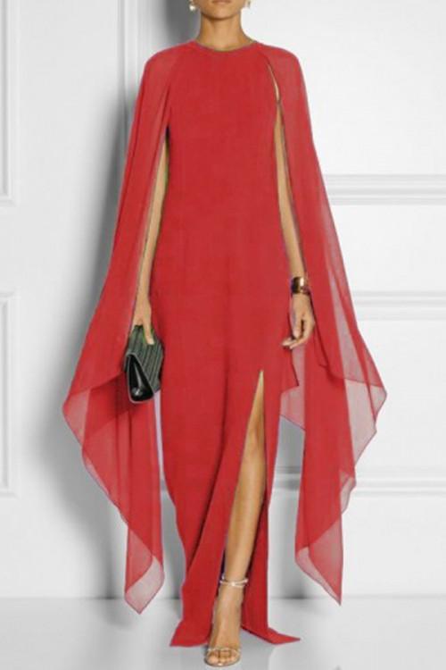 Solid Slit Long Chiffon Dress