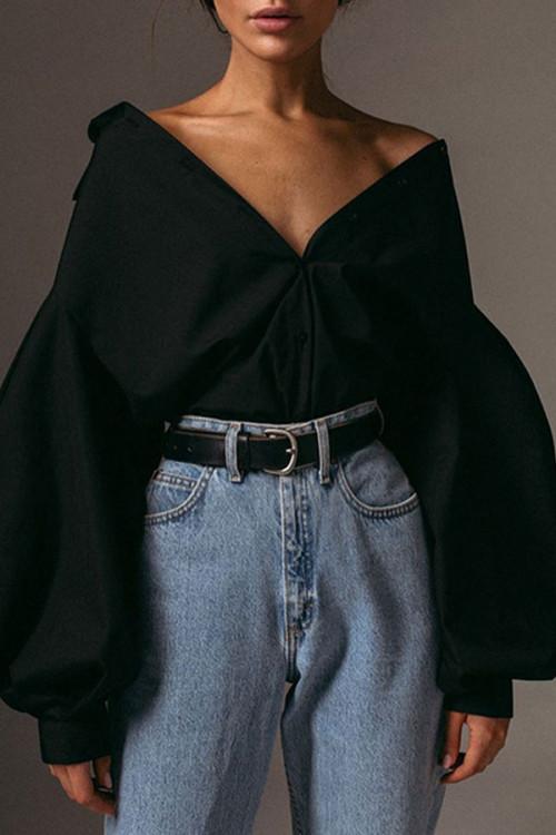Solid  Streetwear  Buttons  Shirt