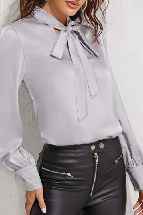 Solid  String  Tie  Blouse