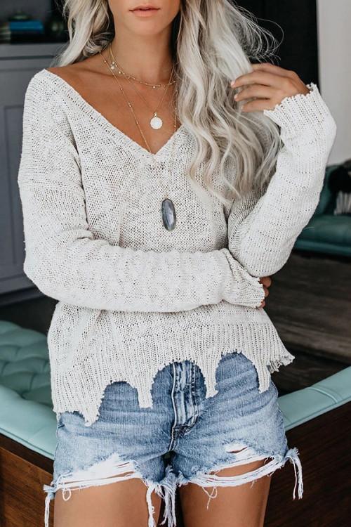 Solid V-neck Asymmetric Knit Sweater