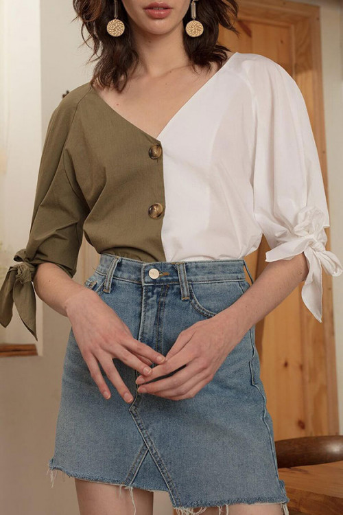 Solid  V-neck  Front  Buttons  Blouse
