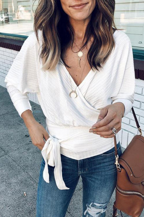 Solid V-neck Lace-up Blouse