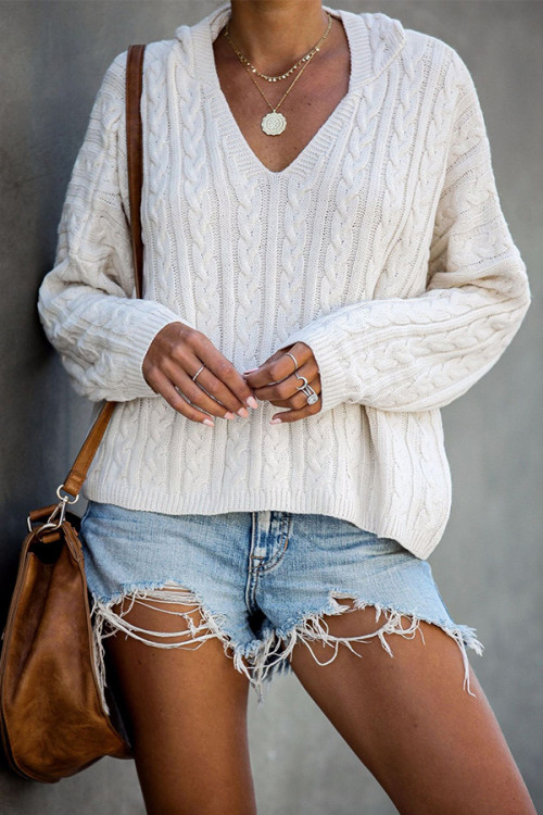 Solid V-neck Hooded Sweater