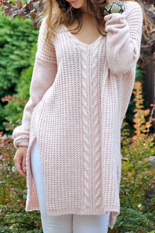 Solid V-neck Slit Side Sweater