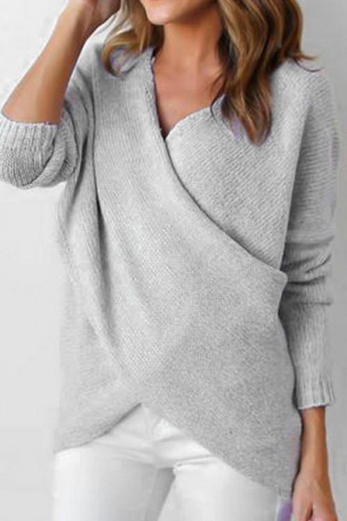 Solid V-neck Twist Knit Sweater
