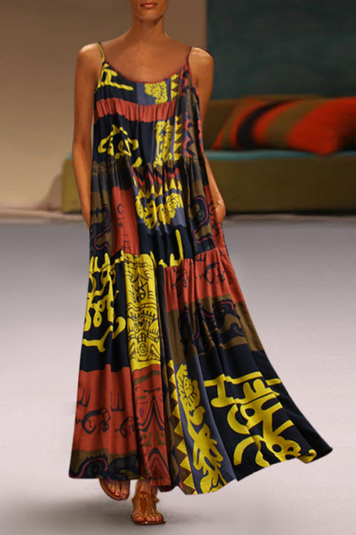 Spaghetti Straps Print Dress
