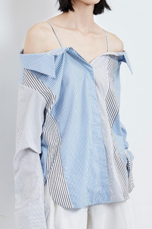 Spaghetti Straps   Striped  Shirt