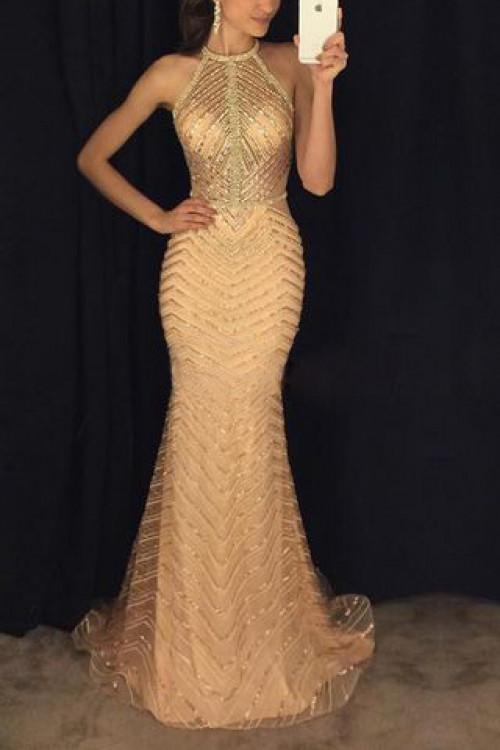 Sparkly Halter Maxi Dress