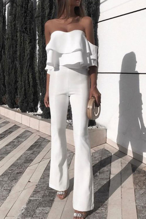 Sexy Strapless Raglan Sleeve Ruffled Jumpsuit