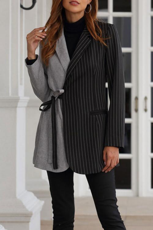 Striped Color Block Lace-up Blazer