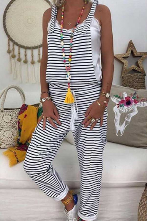 Striped Crisscross Back Jumpsuit