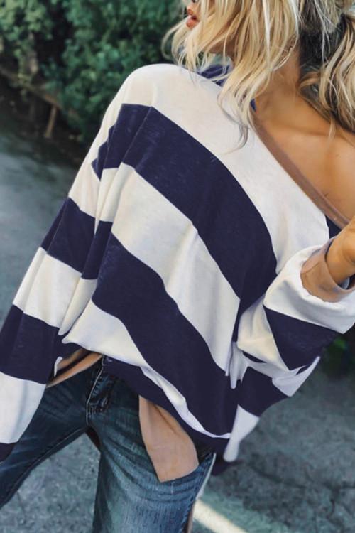 Striped Long-sleeve Loose Sweatshirt