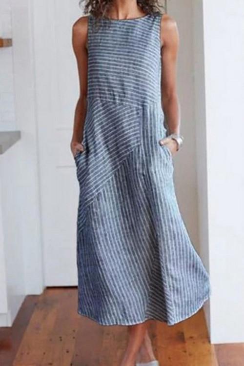 Striped Scoop Sleeveless Dress