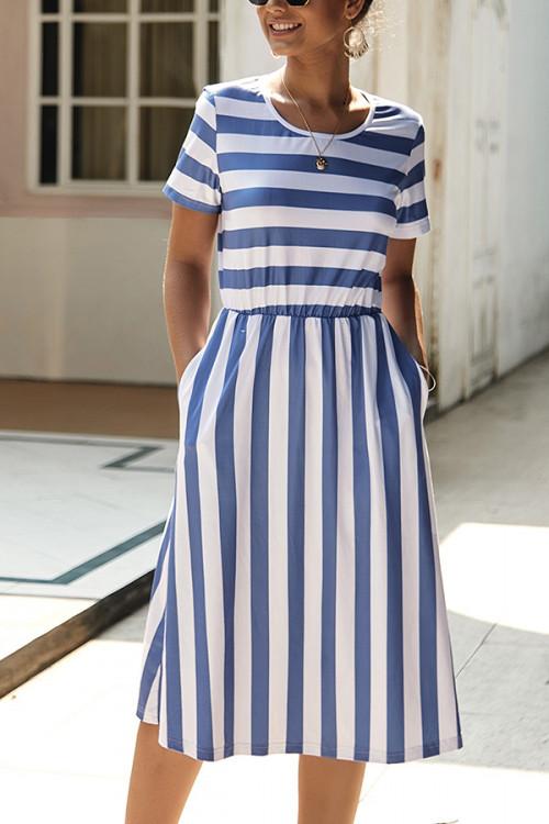 Striped Scoop Tee Dress
