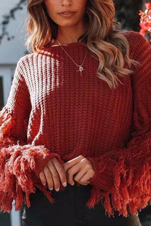 Tasseled Loose Knit Sweater