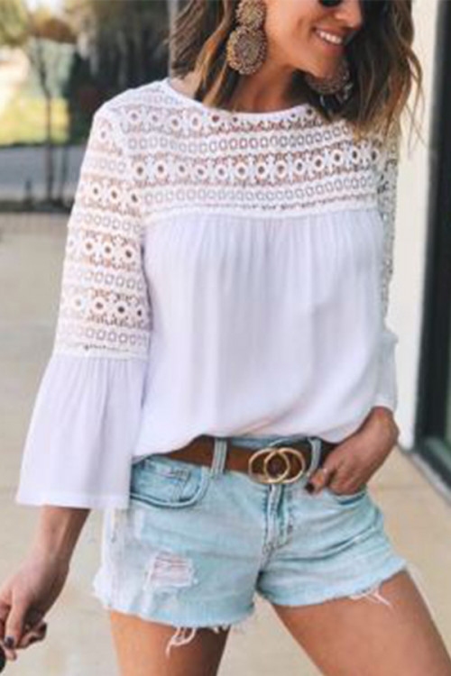 3/4 Flared Sleeves Lace Shirt